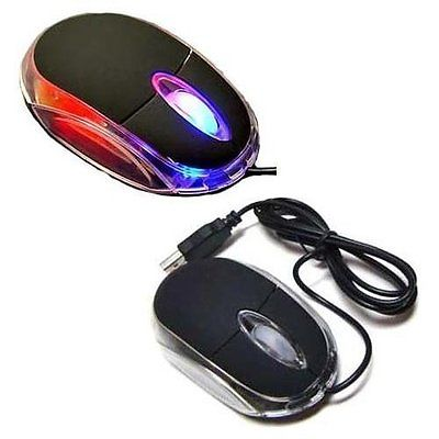 New Black 3-Button 3D USB Wired 800 Dpi Optical Light Scroll Wheel Mice Mouse for PC Laptop Desktop - 2 Pack