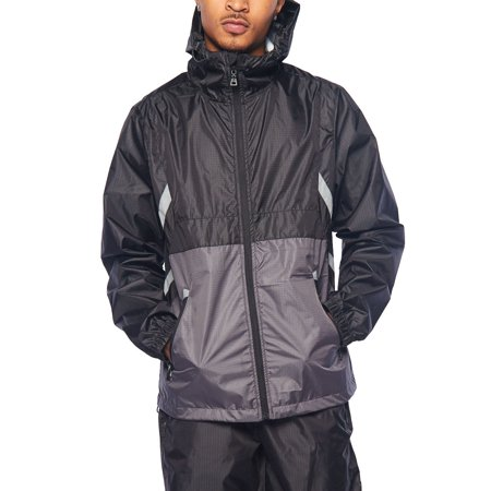 Mens Reflective Jacket (Mens Colorblock Windbreaker With Reflective Trim Jacket)