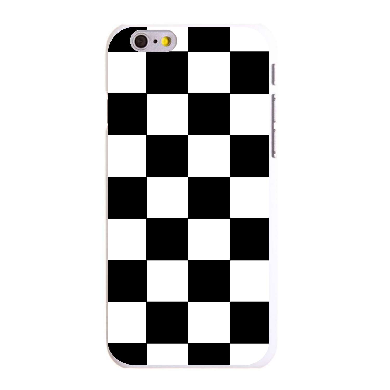 """CUSTOM White Hard Plastic Snap-On Case for Apple iPhone 6 / 6S (4.7"""" Screen) - Black White Checkered Flag Geometric"""