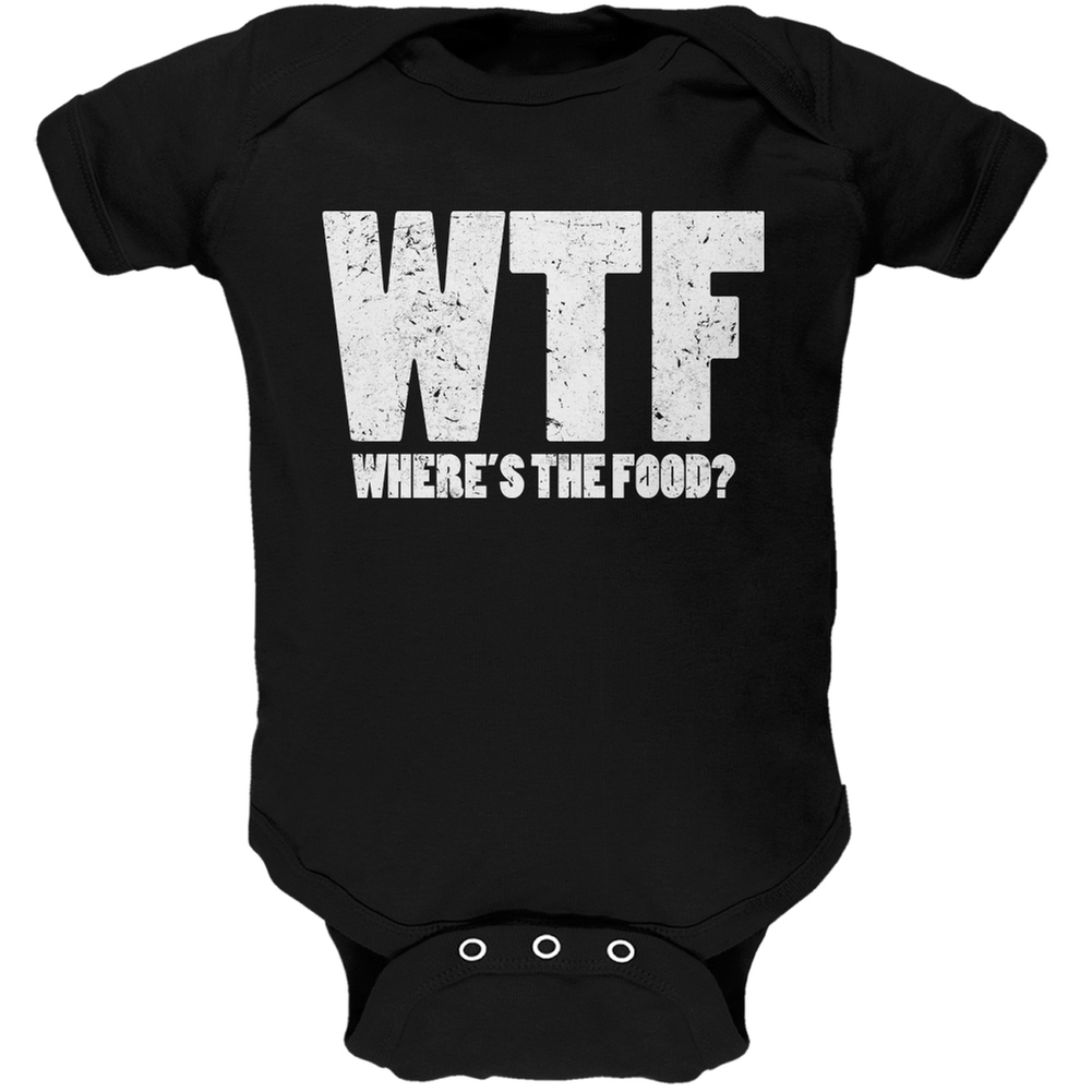 WTF (where's the food?) Black Soft Baby One Piece