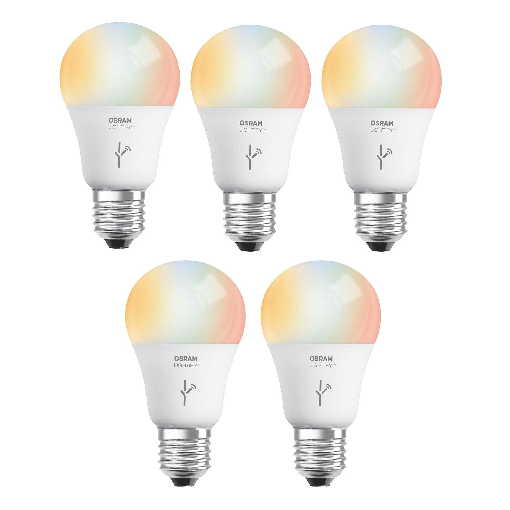 Sylvania Osram Lightify 60W A19 Warm 2700K W/D RGB Smart LED Light Bulb (5 Pack)