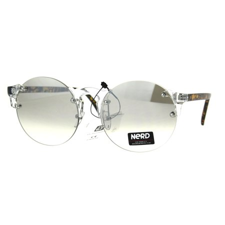 Nerd Round Rimless Hipster Clear Horn Rim Plastic Eye Glasses (Huge Hipster Glasses)