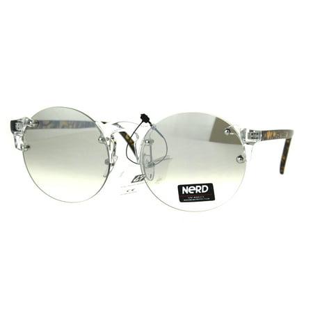 Nerd Round Rimless Hipster Clear Horn Rim Plastic Eye Glasses Zebra - Clear Nerd Glasses
