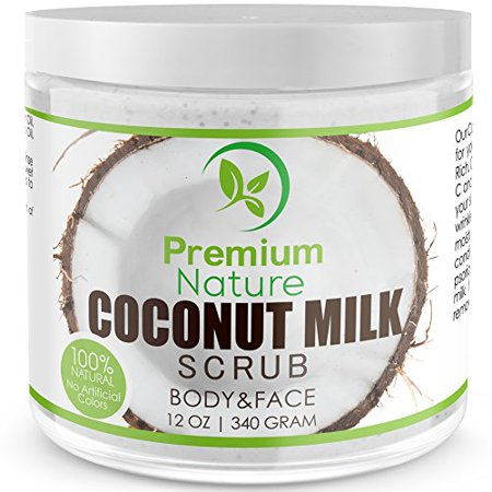 Coconut Milk Exfoliating Body Scrub - 12 oz for Face & Body 100% Natural Best Exfoliator - Deep Cleansing Strech Mark And Cellulite Removal - Moisturizes Nourishes Soothes Radiant Skin Premium