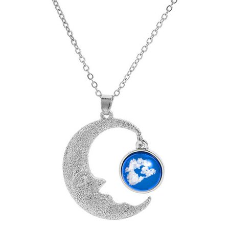 Fancyleo New Moon Hollow Blue Glass Pendant Necklace Resin Frosted Clavicle Chain Woman Jewelry Necklace Gift Blue Moon Silver Bars
