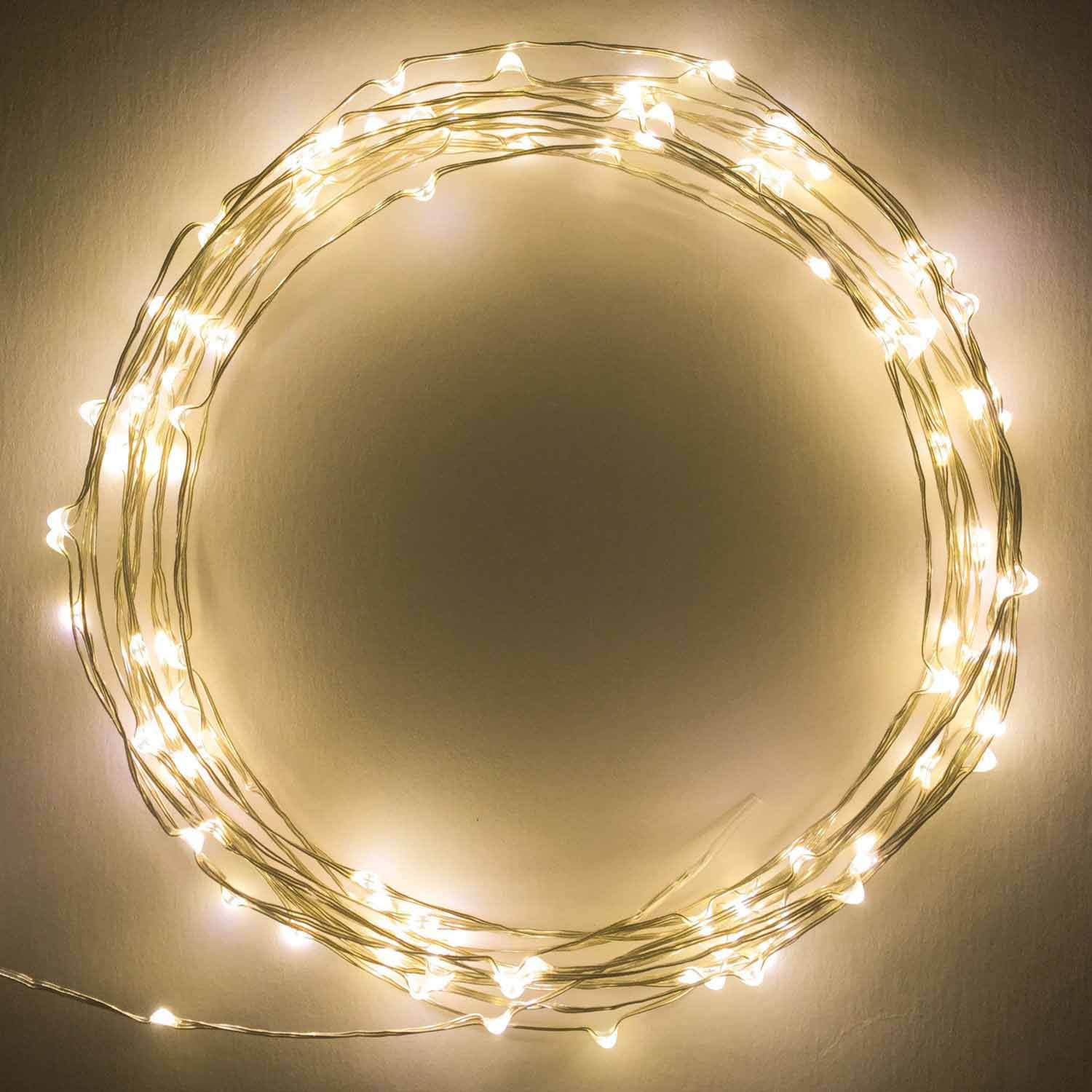 Brightech Warm White LED Starry String Lights, 20' on a Flexible Wire, 120 Individually-Mounted LEDs