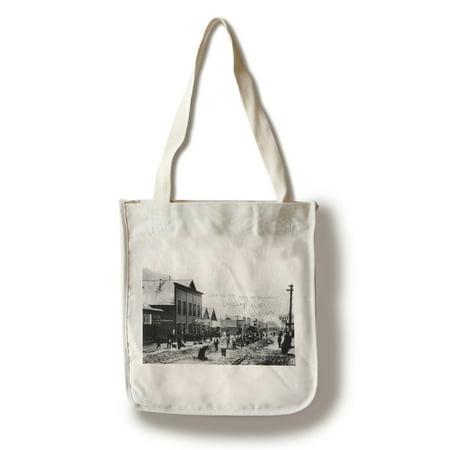 - Skagway, Alaska - Laying Railroad Track on Broadway Photograph (100% Cotton Tote Bag - Reusable)