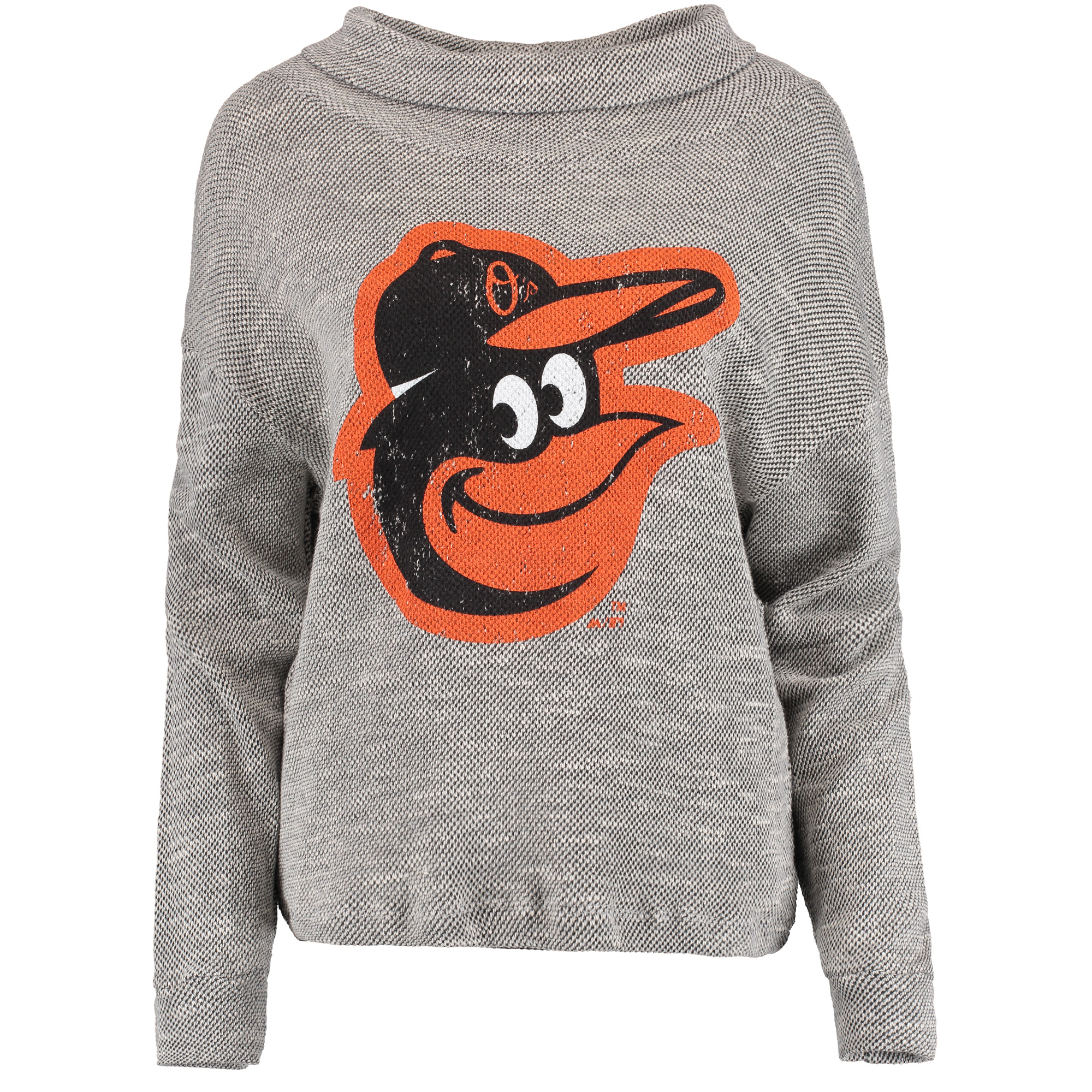 Baltimore Orioles Majestic Threads Women's Tri Yarn Slouched Neck Pullover Sweatshirt - Gray