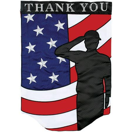 Carson Applique Garden Flag - Thank You Salute