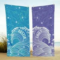 Personalized Swirls of Fun Beach Towel-Purple
