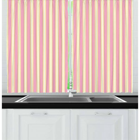 Pink and Yellow Curtains 2 Panels Set, Vertically Striped Pattern in Retro Style and Pastel Colors, Window Drapes for Living Room Bedroom, 55W X 39L Inches, Pale Pink and Pale Yellow, by Ambesonne ()