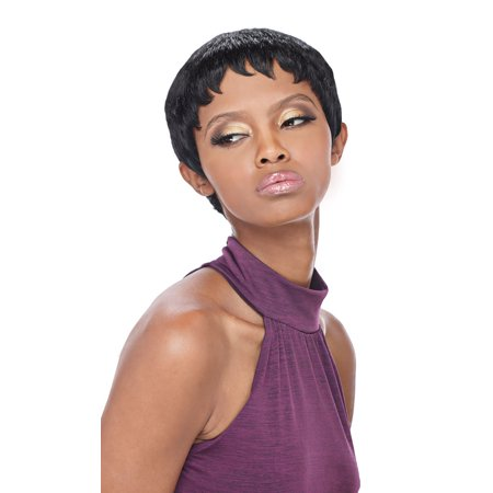 PIXIE - OUTRE 100% HUMAN HAIR PREMIUM DUBY WIG SHORT FEATHERED CUT (COLOR: 1B - OFF BLACK) (Mens Short Hair Wigs)