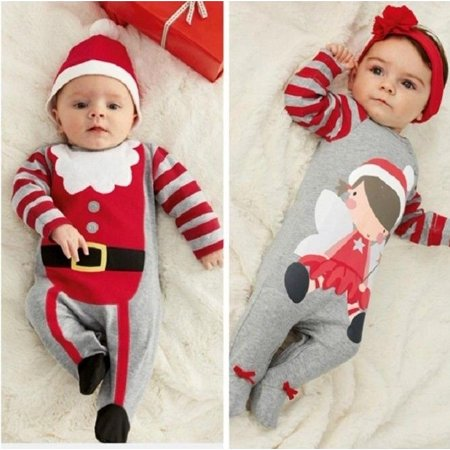 Santa Baby Boys Girls Christmas Bodysuit Romper Hat Headband Outfits Set Sz 0~24M - image 3 of 5