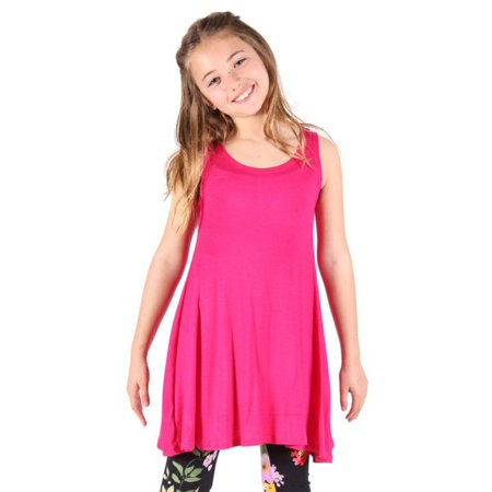 Lori&Jane Girls Hot Pink Solid Color Loose Fit Sleeveless Trendy Tunic Dress