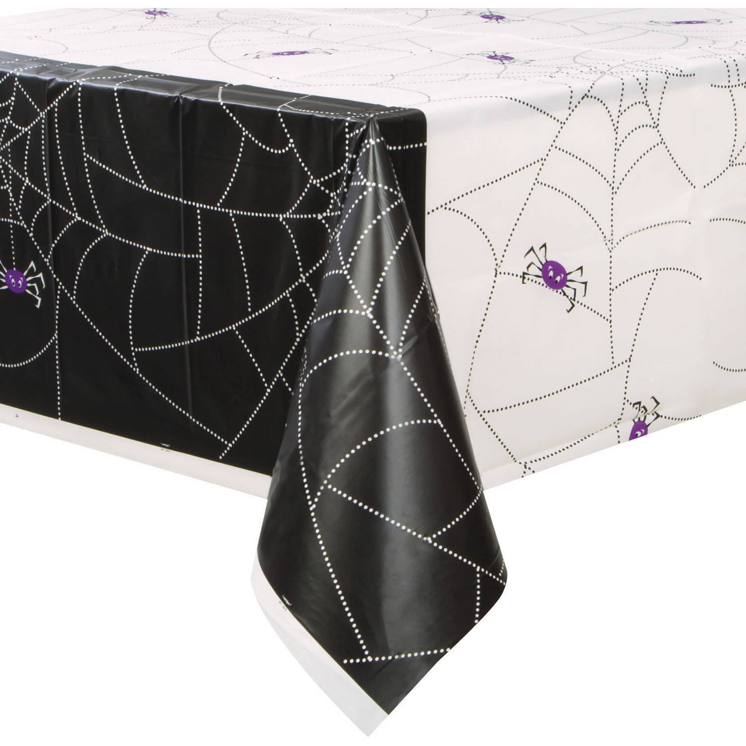 "Plastic Spider Web Halloween Table Cover, 84"" x 54"""