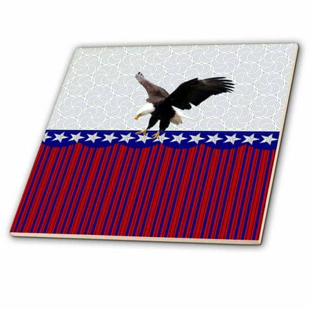 Eagle Tile Box (3dRose Eagle Landing on Stars and Stripes, Red, White and Blue - Ceramic Tile, 6-inch )