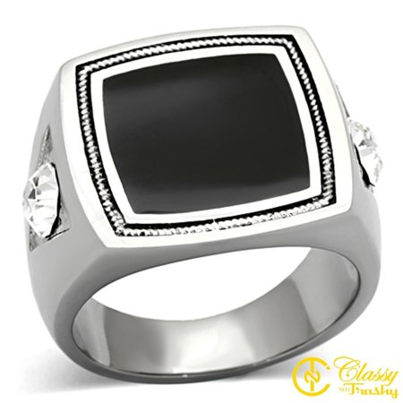 Classy Not Trashy® Men's Silver Toned Round Cut Clear Crystal Dome Shaped Ring - Size 10 Tone Crystal Dome
