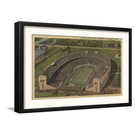 Columbus, Ohio - Ohio State University Stadium from Air Framed Art Print Wall (Best Neighborhoods In Columbus Ohio 2019)