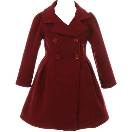 Little Girls Dress Coat Long Sleeve Button Pocket Long Winter Coat Outerwear Burgundy 2 (2J0K4S9) - Girls Dresses Winter