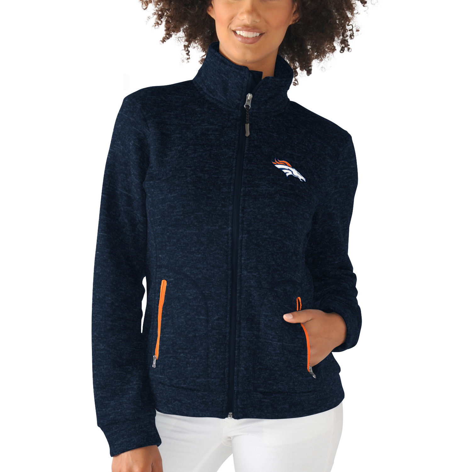 Denver Broncos G-III 4Her by Carl Banks Women's Checkpoint Full Zip Jacket - Navy