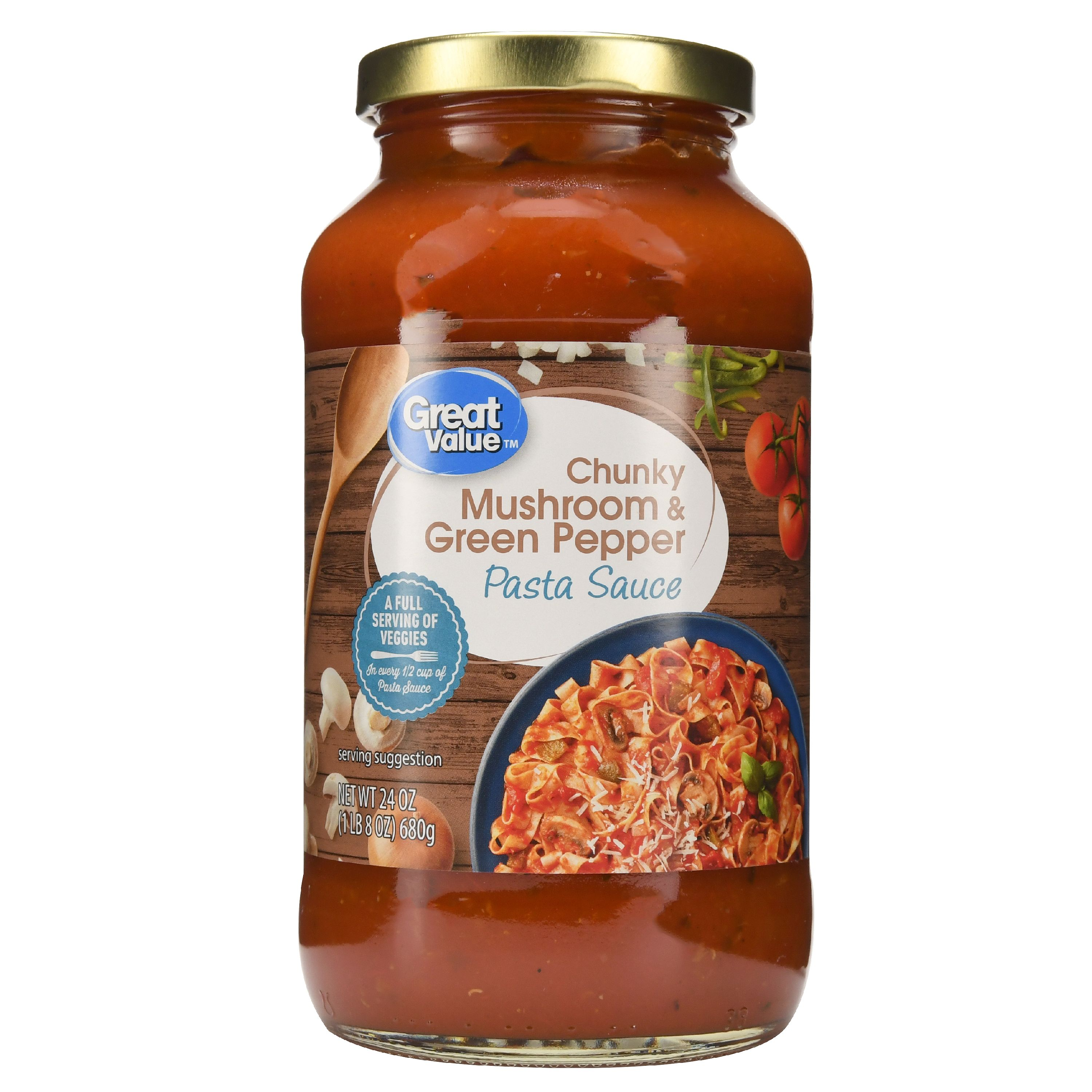 (3 Pack) Great Value Chunky Mushroom & Green Pepper Pasta Sauce, 24 oz