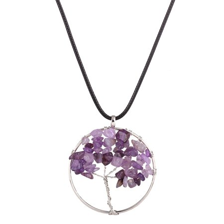 Life of Tree Necklaces 7 Chakra Stone Beads Natural Citrine Amethyst Agate Pendant Necklace Leather Chains Christmas Gifts N4287 Purple Purple Beaded Blue Agate Necklace