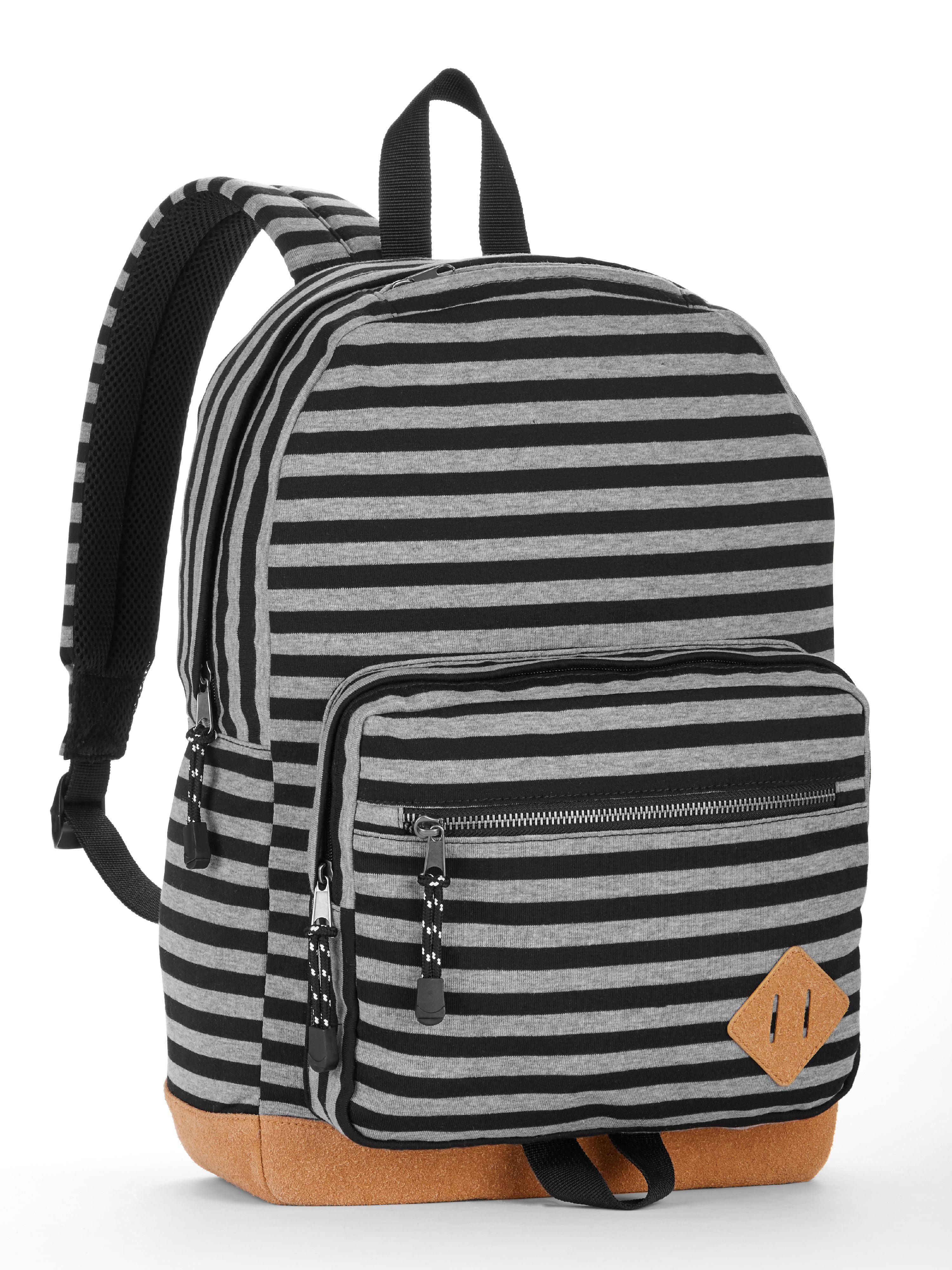 No Boundaries Grey Knit Stripe Suede Bottom Backpack