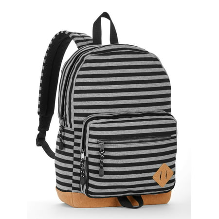 No Boundaries Grey Knit Stripe Suede Bottom Backpack
