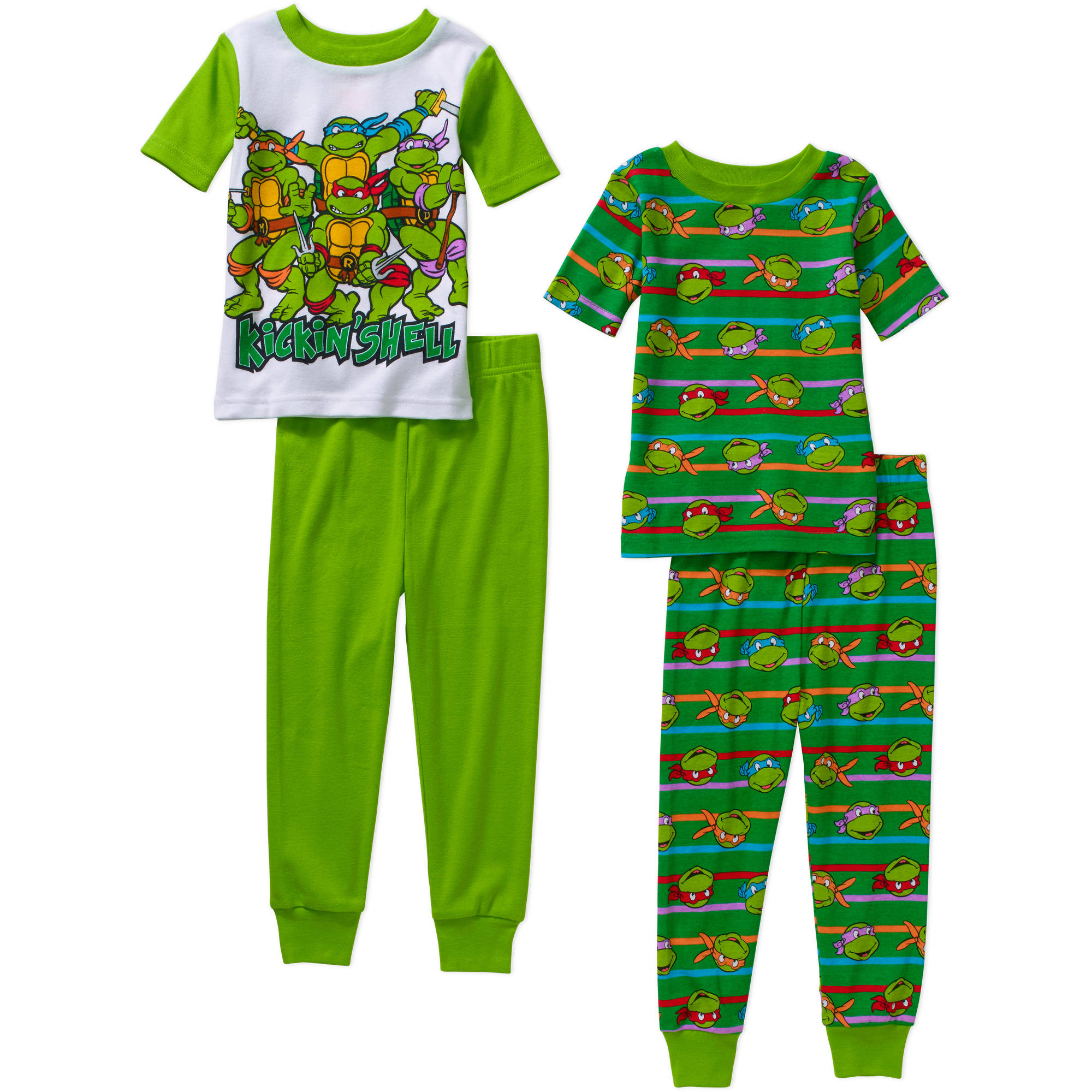 Teenage Mutant Ninja Turtles Toddler Boys' Cotton Tight Fit Short Sleeve Sleep Set, 4-Pieces