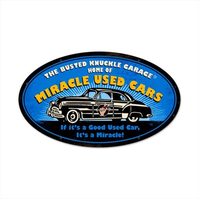 Past Time Signs BUST104 Miracle Used Cars Automotive Oval Metal Sign - image 1 de 1
