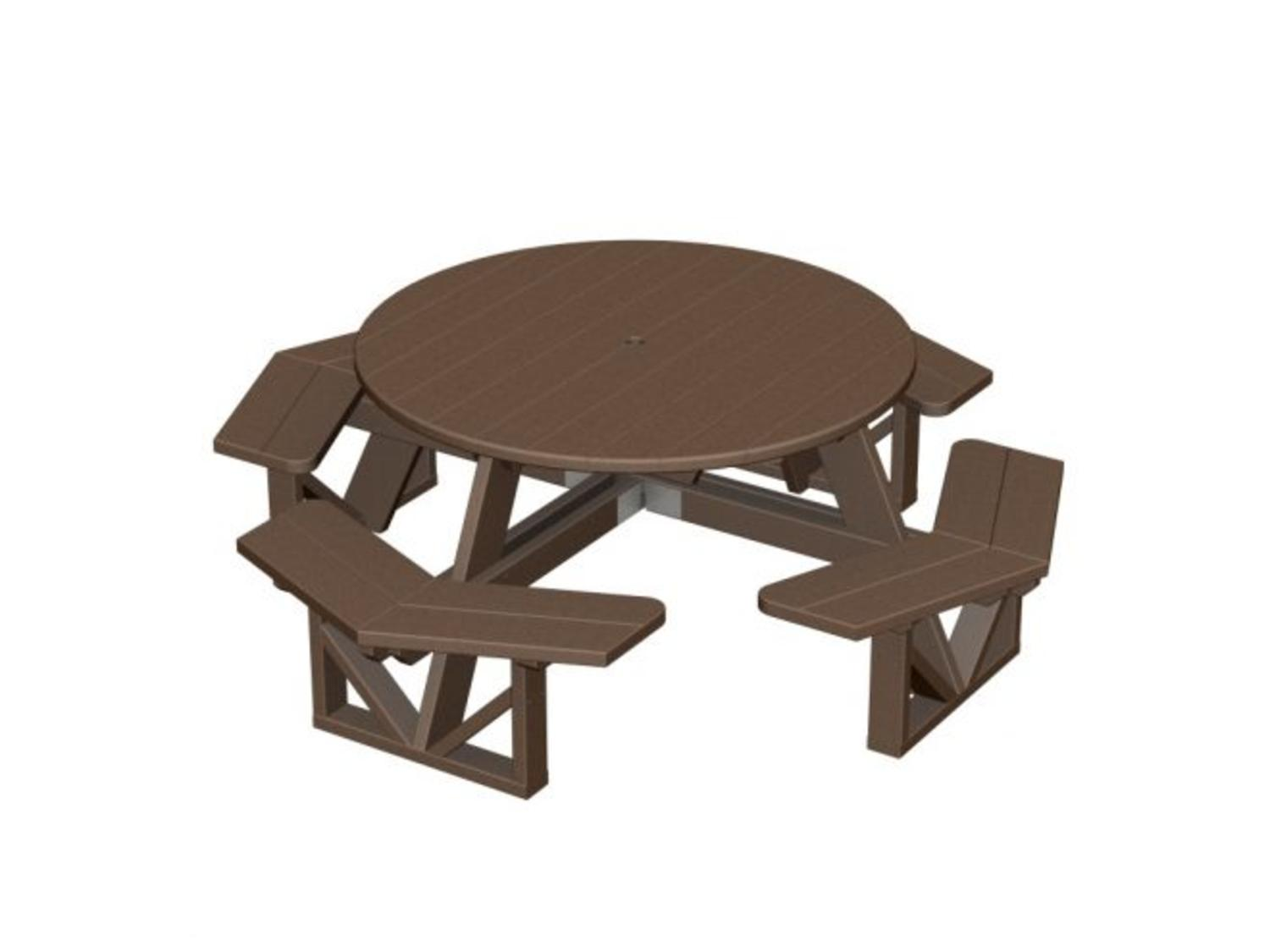 Recycled Park Lane Outdoor Patio Octagon Picnic Table Chocolate Brown by Eco-Friendly Furnishings