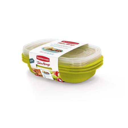 Rubbermaid TakeAlongs Sandwich Food Storage Containers, 3.7 Cup, 3 Pack (Sandwich Glass)