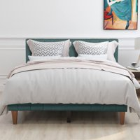 Twin Bed Frame, White Wood Platform Bed Frame with Headboard and Footboard, Modern Bed Mattress Foundation Sleigh Bed with Soild Wood Slat Support for Adults Teens Children, Easy Assembly, L567