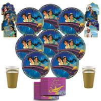 B-THERE Disney Aladdin Party Pack Bundle - Kids Disney Aladdin Birthday Set, Seats 8: Plates, Cups,...