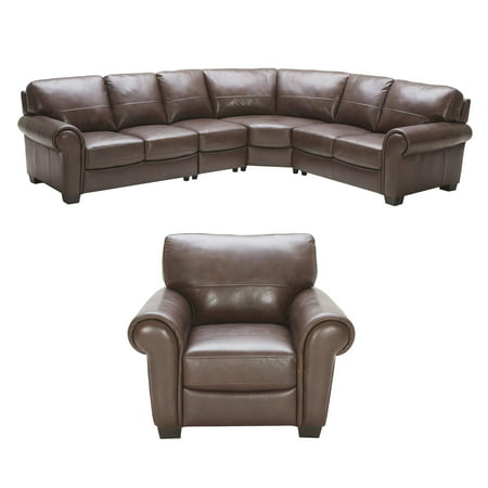 Elements Fine Home Lodge Top Grain Leather Large Sectional Left Arm Facing