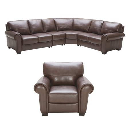Lodge Top Grain Leather Large Sectional Left Arm Facing