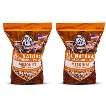 (2 pack) Pit Boss Texas Mesquite Hardwood BBQ Grilling and Smoking Pellets - 20 lb Resealable