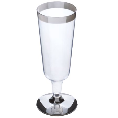 Efavormart 55pcs - Silver Rimmed 6oz Disposable Plastic Champagne Glass](Light Up Champagne Glasses)