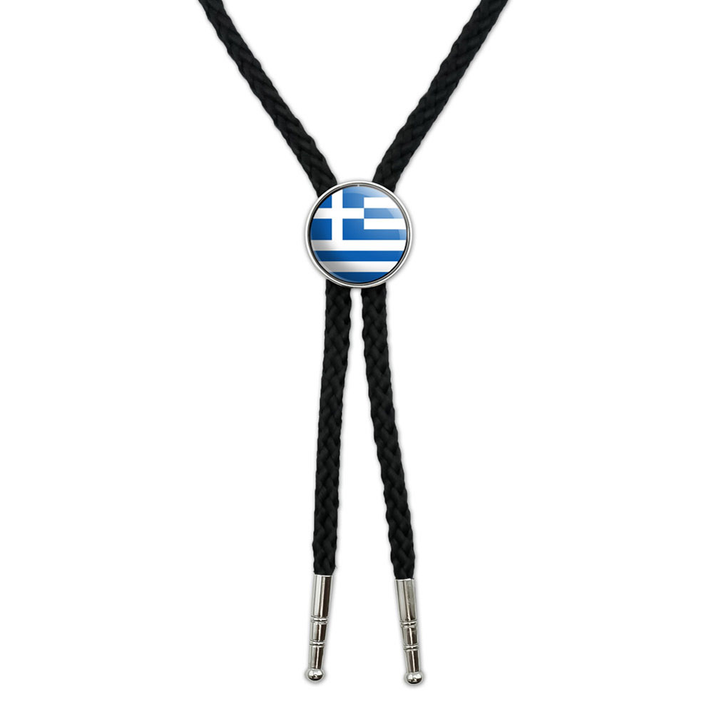 Greece Greek Flag Southwestern Bolo Tie by Graphics and More