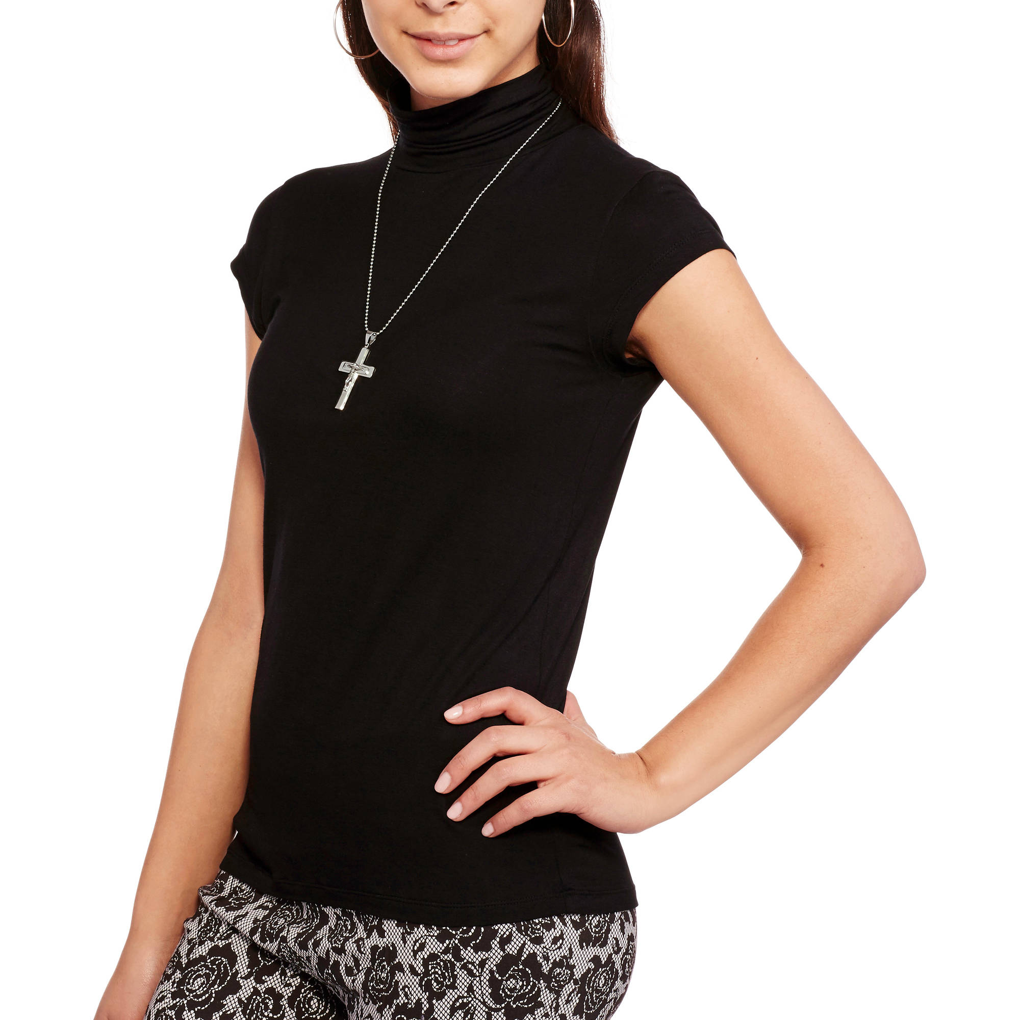 Moral Fiber Juniors' High Neck Short Sleeve Tunic Top