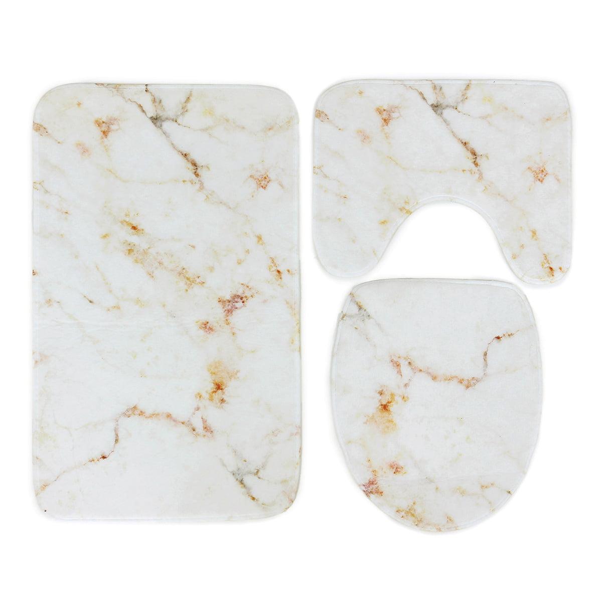 3Pcs Set Marble Pattern Bathroom Non-Slip Pedestal Rug Lid Toilet Cover Bath Mat