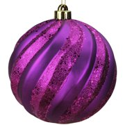 "Northlight 6"" Glitter Swirl Shatterproof Christmas Ball Ornament - Purple"