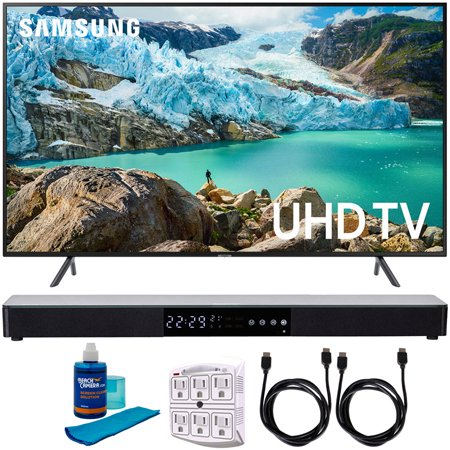 "Samsung 43"" RU7100 LED Smart 4K UHD TV 2019 Model (UN43RU7100FXZA) with Screen Cleaner for LED TVs, SurgePro 6-Outlet Surge Adapter, 2x HDMI Cable & Home Theater 31"" Soundbar"