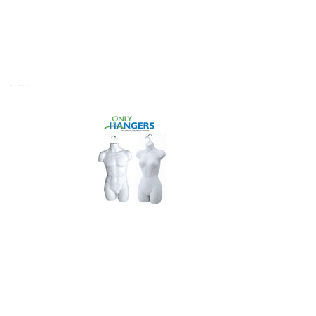 Male & Female Torso Body Mannequin Forms With Hook For Hanging (White)