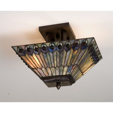 Meyda Tiffany 31191 Stained Gl Semi Flush Ceiling Fixture From The Jeweled Pea