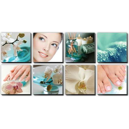 DREAM 8 Pc Beauty Salon Spa Massage Decal Decoration 24 x 24 Canvas Mural CM-DR - Salon Decorations