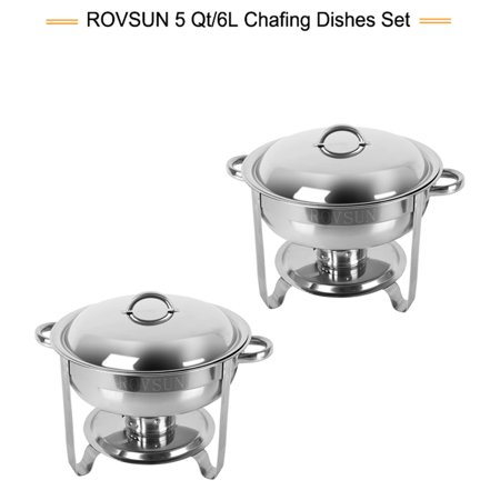 ROVSUN 5 Qt 2 Packed Full Size Upgraded Stainless Steel Chafing Dish Buffet Silver Round Catering Warmer Set with Food and Water Trays,Mirror Cover,Thick Stand Frame for Kitchen Party Banquet - Buffet For Sale