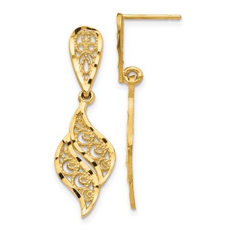 14k Yellow Gold Filigree Swirl Drop Dangle Chandelier Post Stud Earrings Gifts For Women For Her 14k Yellow Gold Filigree Dangle Earrings