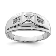925 Sterling Silver Diamond Mens Band Ring Size 11.00 Man   For Dad Mens  For Him