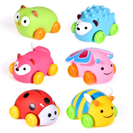 Bath Toys for Toddlers, Animal Toy Cars, Push Pull Car Toys for Baby, Soft Die-Cast Vehicle, Christmas Gifts for Kids 6 PCs F-257 (Baby Car Toy Vehicle)